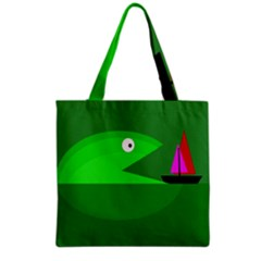 Green Monster Fish Grocery Tote Bag by Valentinaart