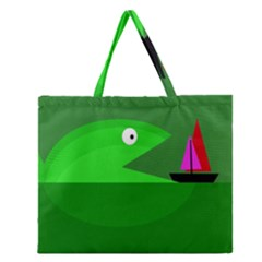 Green Monster Fish Zipper Large Tote Bag by Valentinaart