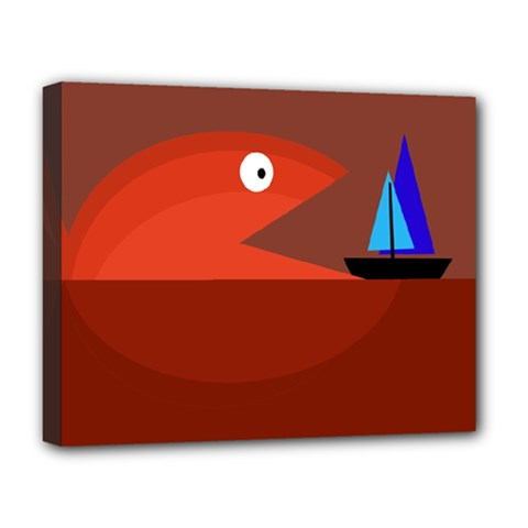 Red Monster Fish Deluxe Canvas 20  X 16   by Valentinaart