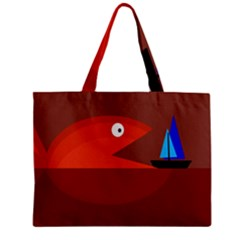 Red Monster Fish Zipper Mini Tote Bag by Valentinaart