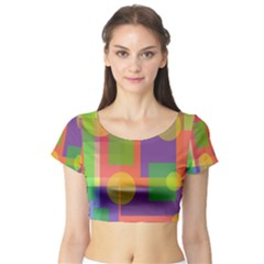 Colorful Geometrical Design Short Sleeve Crop Top (tight Fit) by Valentinaart