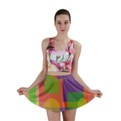 Colorful Geometrical Design Mini Skirt by Valentinaart