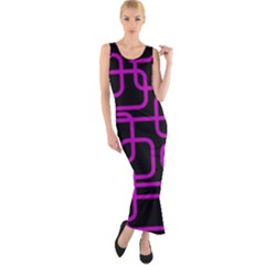 Purple And Black Elegant Design Fitted Maxi Dress by Valentinaart