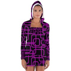 Purple And Black Elegant Design Women s Long Sleeve Hooded T-shirt by Valentinaart