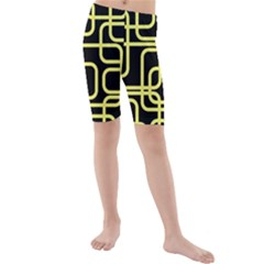 Yellow And Black Decorative Design Kid s Mid Length Swim Shorts by Valentinaart