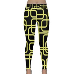 Yellow And Black Decorative Design Yoga Leggings by Valentinaart
