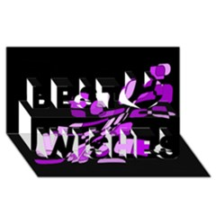 Purple Decorative Abstraction Best Wish 3d Greeting Card (8x4)