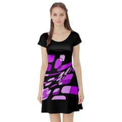 Purple Decorative Abstraction Short Sleeve Skater Dress by Valentinaart