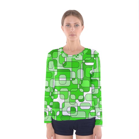 Green Decorative Abstraction  Women s Long Sleeve Tee by Valentinaart