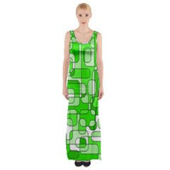 Green Decorative Abstraction  Maxi Thigh Split Dress by Valentinaart