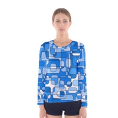 Blue Decorative Abstraction Women s Long Sleeve Tee by Valentinaart
