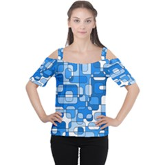 Blue Decorative Abstraction Women s Cutout Shoulder Tee