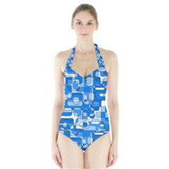 Blue Decorative Abstraction Halter Swimsuit by Valentinaart