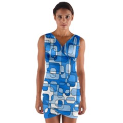 Blue Decorative Abstraction Wrap Front Bodycon Dress by Valentinaart