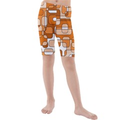 Orange Decorative Abstraction Kid s Mid Length Swim Shorts by Valentinaart