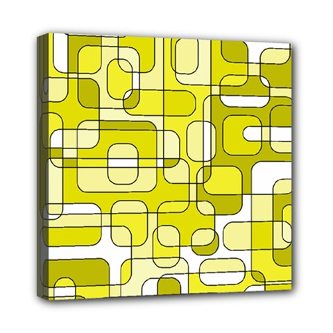 Yellow Decorative Abstraction Mini Canvas 8  X 8  by Valentinaart