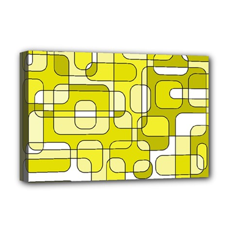 Yellow Decorative Abstraction Deluxe Canvas 18  X 12   by Valentinaart