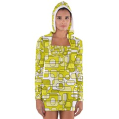 Yellow Decorative Abstraction Women s Long Sleeve Hooded T-shirt by Valentinaart