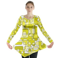 Yellow Decorative Abstraction Long Sleeve Tunic  by Valentinaart