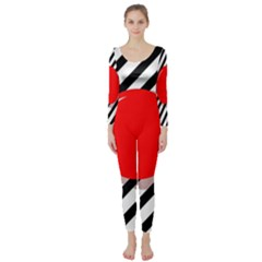 Red Ball Long Sleeve Catsuit by Valentinaart