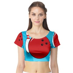 Bowling  Short Sleeve Crop Top (tight Fit) by Valentinaart