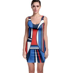 Abstract Nautical Sleeveless Bodycon Dress