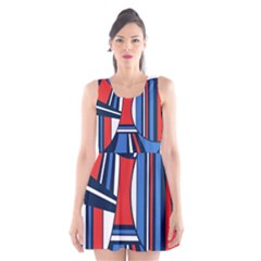 Abstract Nautical Scoop Neck Skater Dress
