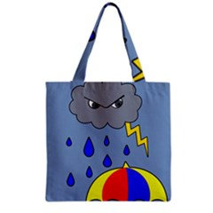 Rainy Day Grocery Tote Bag by Valentinaart
