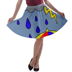 Rainy Day A Line Skater Skirt by Valentinaart