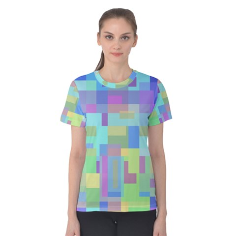 Pastel Geometrical Desing Women s Cotton Tee by Valentinaart