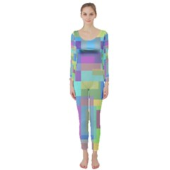 Pastel Geometrical Desing Long Sleeve Catsuit by Valentinaart