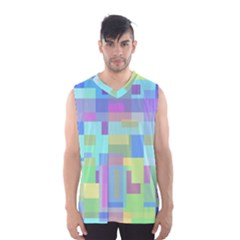 Pastel Geometrical Desing Men s Basketball Tank Top by Valentinaart