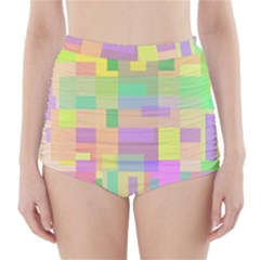 Pastel Colorful Design High-waisted Bikini Bottoms by Valentinaart