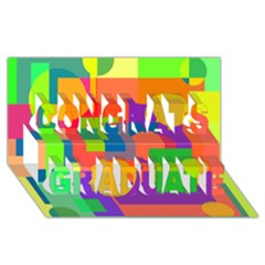 Colorful Geometrical Design Congrats Graduate 3d Greeting Card (8x4)  by Valentinaart