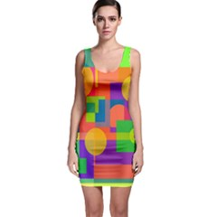 Colorful Geometrical Design Sleeveless Bodycon Dress by Valentinaart