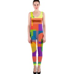 Colorful Geometrical Design Onepiece Catsuit by Valentinaart