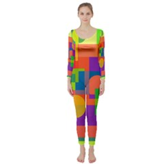 Colorful Geometrical Design Long Sleeve Catsuit by Valentinaart