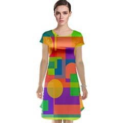 Colorful Geometrical Design Cap Sleeve Nightdress