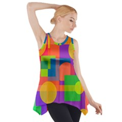 Colorful Geometrical Design Side Drop Tank Tunic