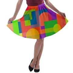 Colorful Geometrical Design A Line Skater Skirt by Valentinaart