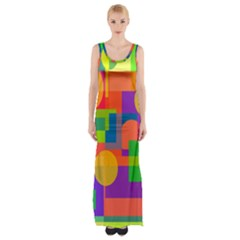 Colorful Geometrical Design Maxi Thigh Split Dress