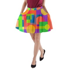 Colorful Geometrical Design A Line Pocket Skirt