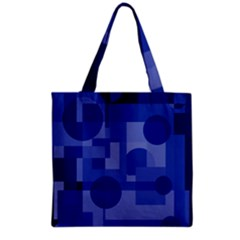 Deep Blue Abstract Design Grocery Tote Bag by Valentinaart