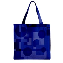 Deep Blue Abstract Design Zipper Grocery Tote Bag by Valentinaart