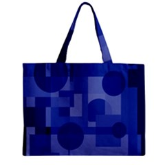 Deep Blue Abstract Design Zipper Mini Tote Bag by Valentinaart