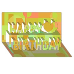 Green And Orange Decorative Design Happy Birthday 3d Greeting Card (8x4)  by Valentinaart