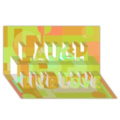 Green And Orange Decorative Design Laugh Live Love 3d Greeting Card (8x4)  by Valentinaart