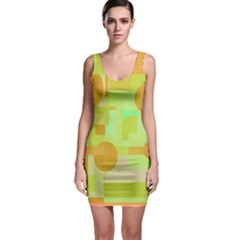 Green And Orange Decorative Design Sleeveless Bodycon Dress by Valentinaart