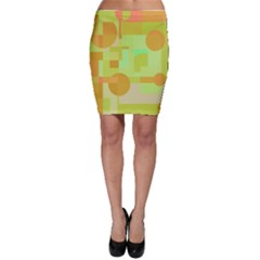 Green And Orange Decorative Design Bodycon Skirt by Valentinaart