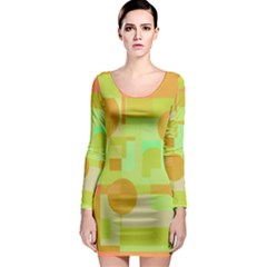 Green And Orange Decorative Design Long Sleeve Bodycon Dress by Valentinaart